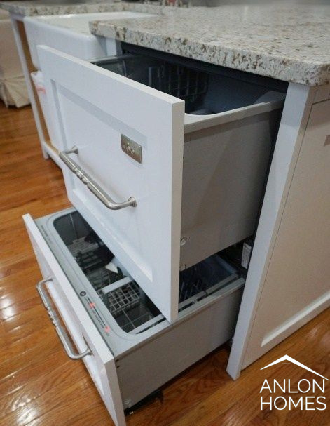 dish drawers in custom cabinets