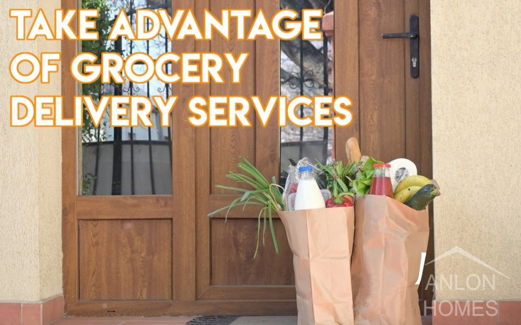 groceries being left at front door with contactless delivery method