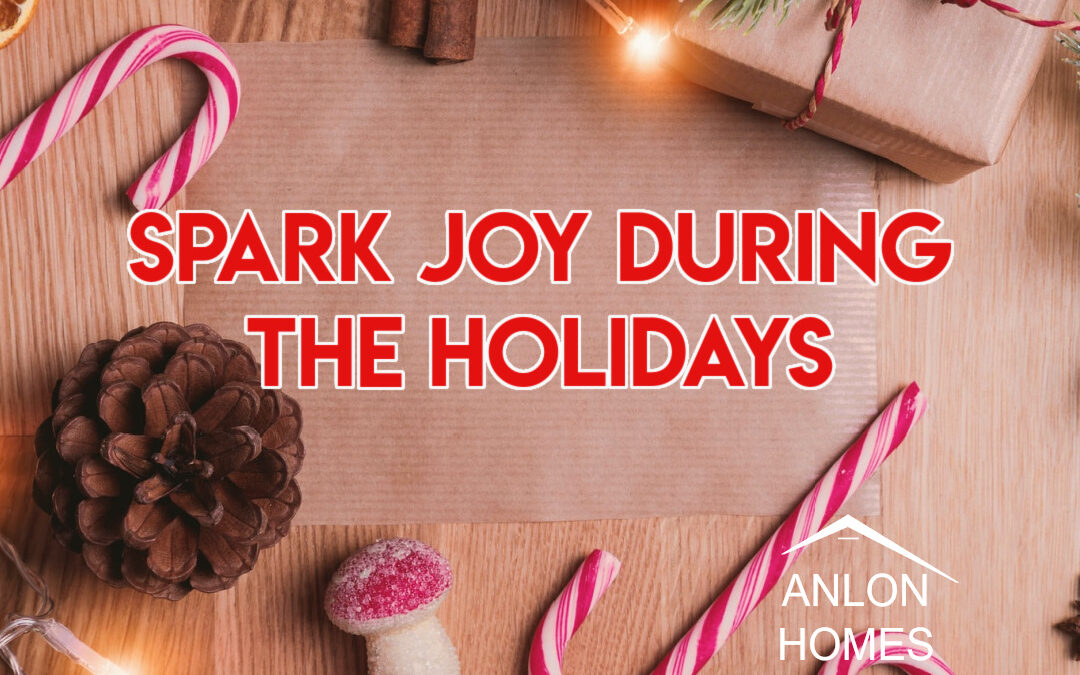 title photo of various christmas items and verbiage about sparking joy during the holidays