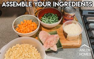 individual bowls filled with raw carrots, green beans, parmesan cheese, and elbow macaroni.