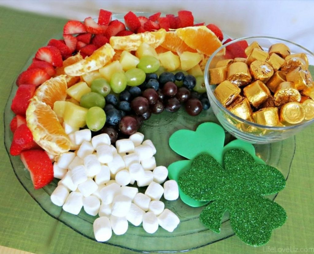 a plate of fruit in colors of the rainbow